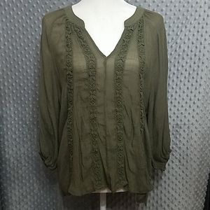 About A Girl Army Green Peasant Blouse Large